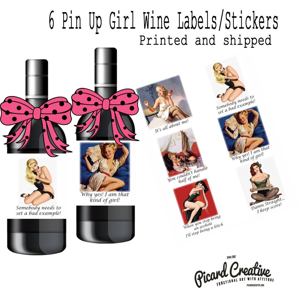Pin Up girls wine/booze labels or party favor box/bag
