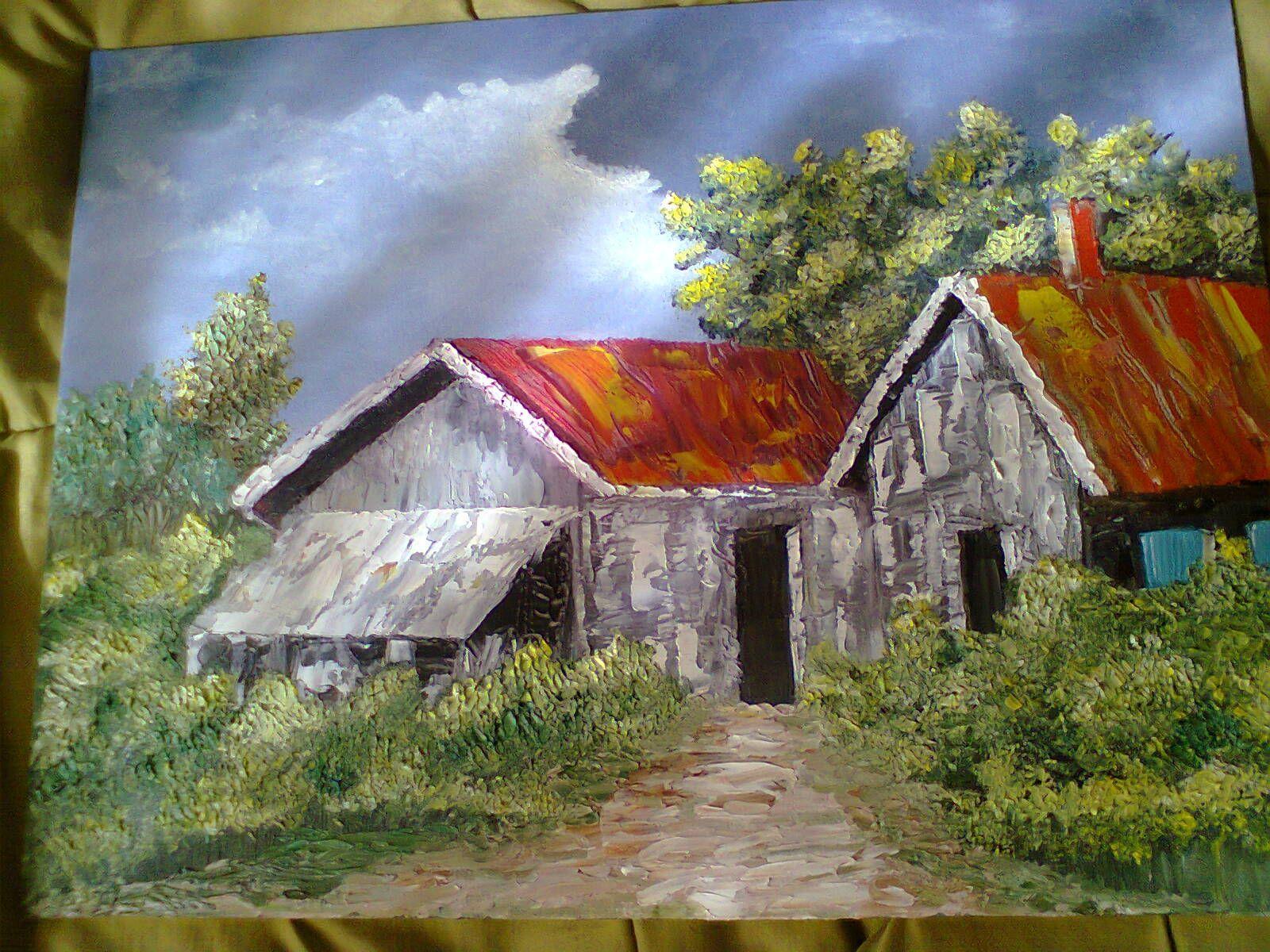 casa de campo pintura con espatula al oleo … | Flores
