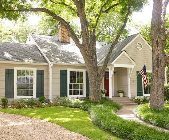 Image Result For Tan House With Green Shutters Burgundy