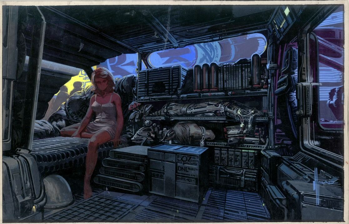 Syd mead concept art from the blade runner 30th for Cyberpunk interior design