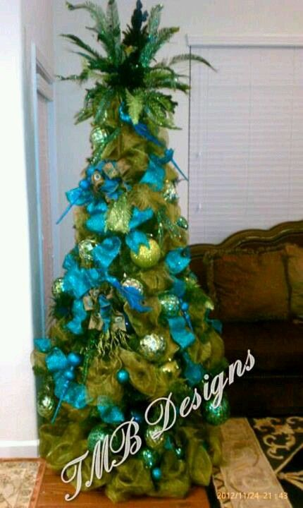 Peacock Tree done in Teal  Green ! TMB Designs Pinterest Teal - peacock christmas decorations