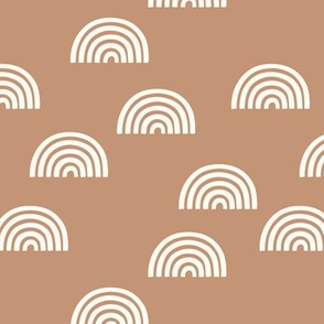 Colorful fabrics digitally printed by Spoonflower - Scattered Rainbow white on caramel toffee apricot