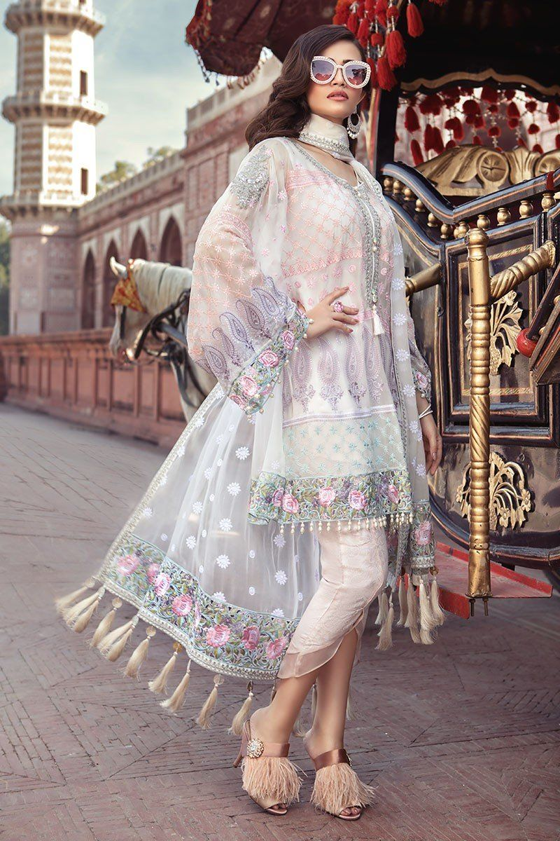 Embroidered chiffon white online dress from maria b eid collection
