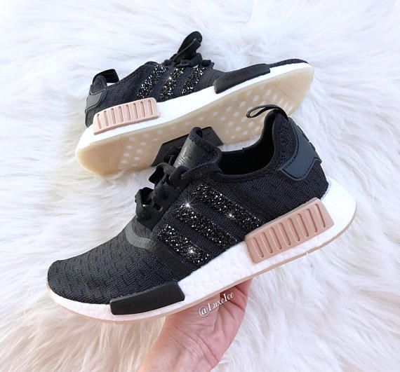 Adidas NMD R1 Carbon Ash Pearl Tan customized with SWAROVSKI ... dd3b9022a