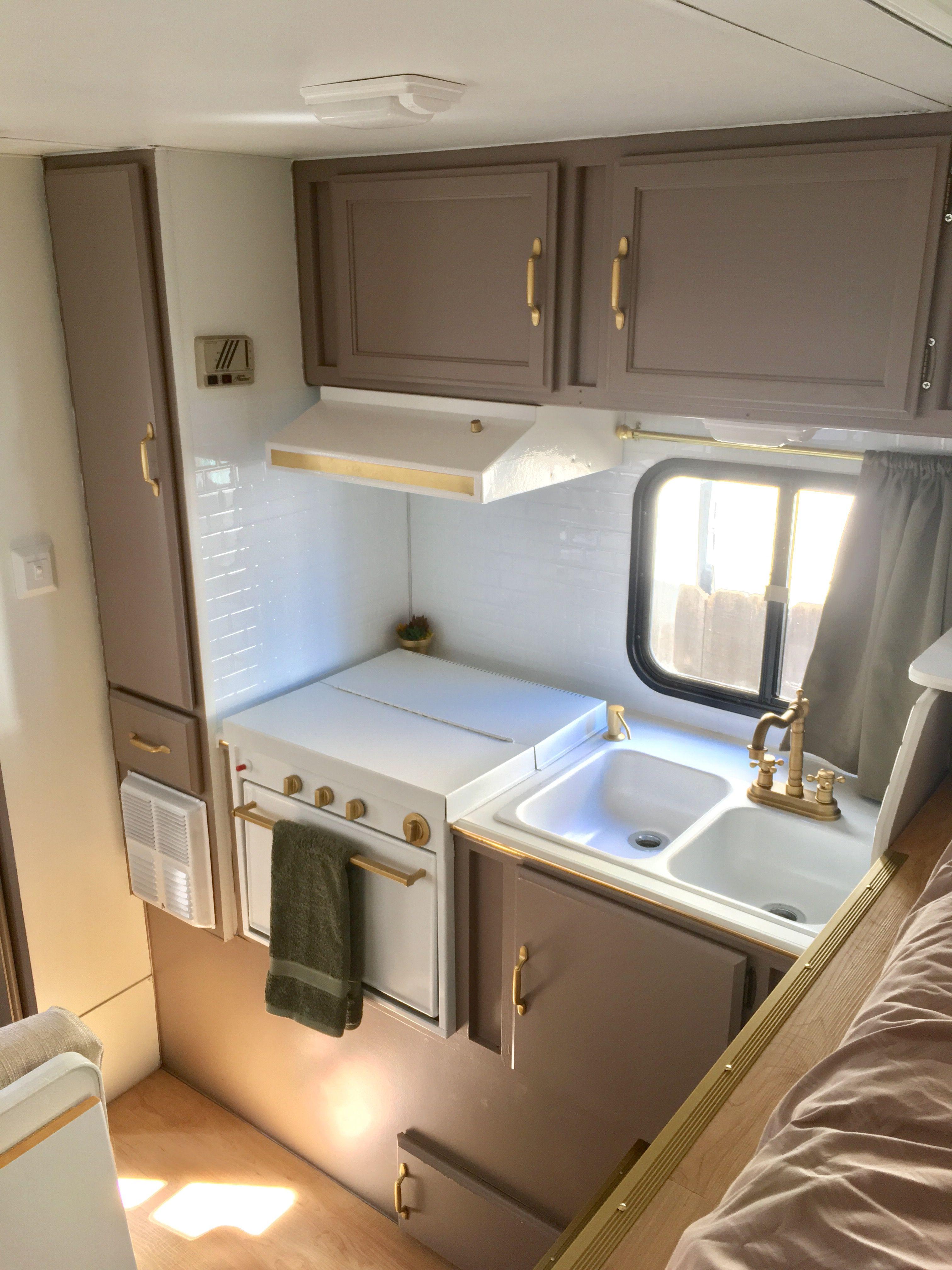 truck camper trailer remodel before and after insta sara. Black Bedroom Furniture Sets. Home Design Ideas