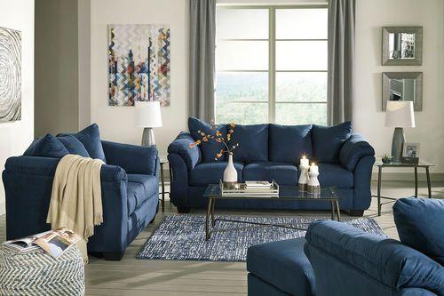 Ashley Darcy Blue Sofa Loveseat Chair Ottoman In 2019 Living Room Ideas Sofa Furniture Chair Ottoman