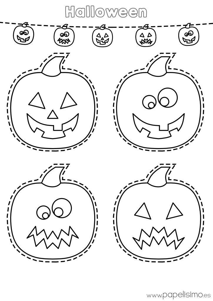 Dibujo-calabazas-colorear-y-recortar-Halloween | Halloween ...