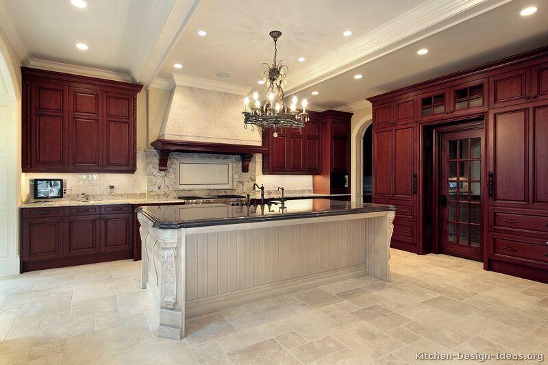Traditional Dark Wood Cherry Kitchen Cabinets Luxury Kitchen Design Luxury Kitchens Traditional Kitchen Cabinets