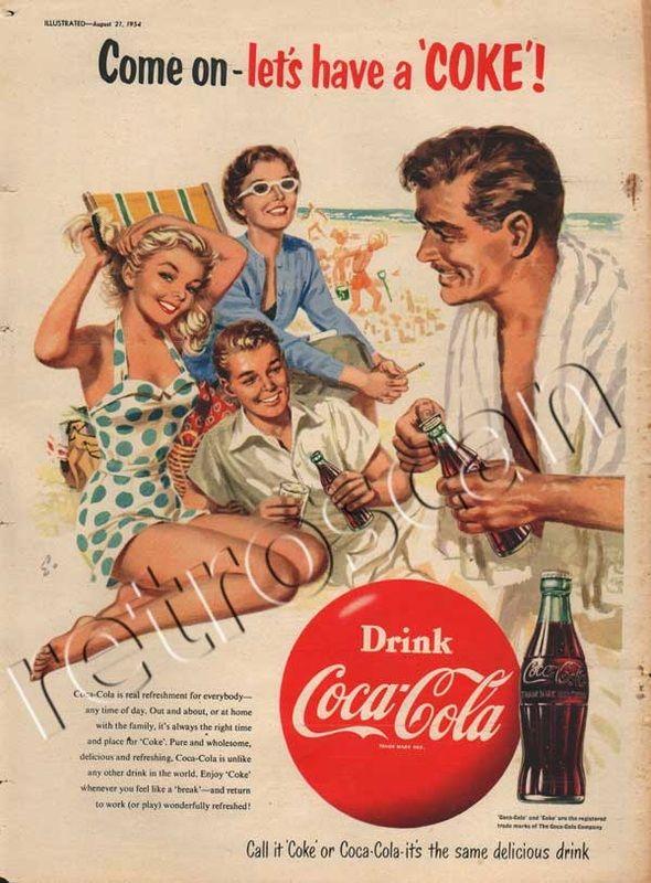 1954 coca cola ad beach family have a coke and a smile
