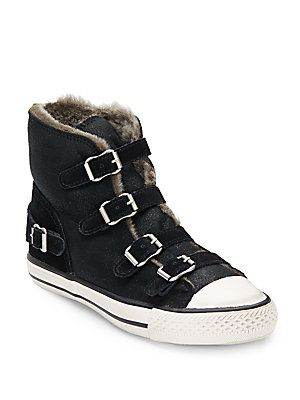 Virginy Shearling-Lined Leather & Suede High-Top Sneakers - SaksOff5th
