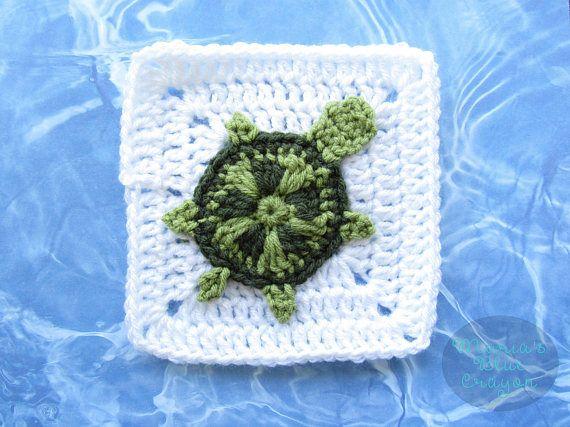 Sea Turtle Granny Square - CROCHET PATTERN - Ocean Afghan Series ...