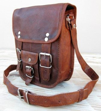 11 Inch (Measured Diagonally) Leather Shoulder Day Travel Bag By Rust (11-P-CRV-PKT)