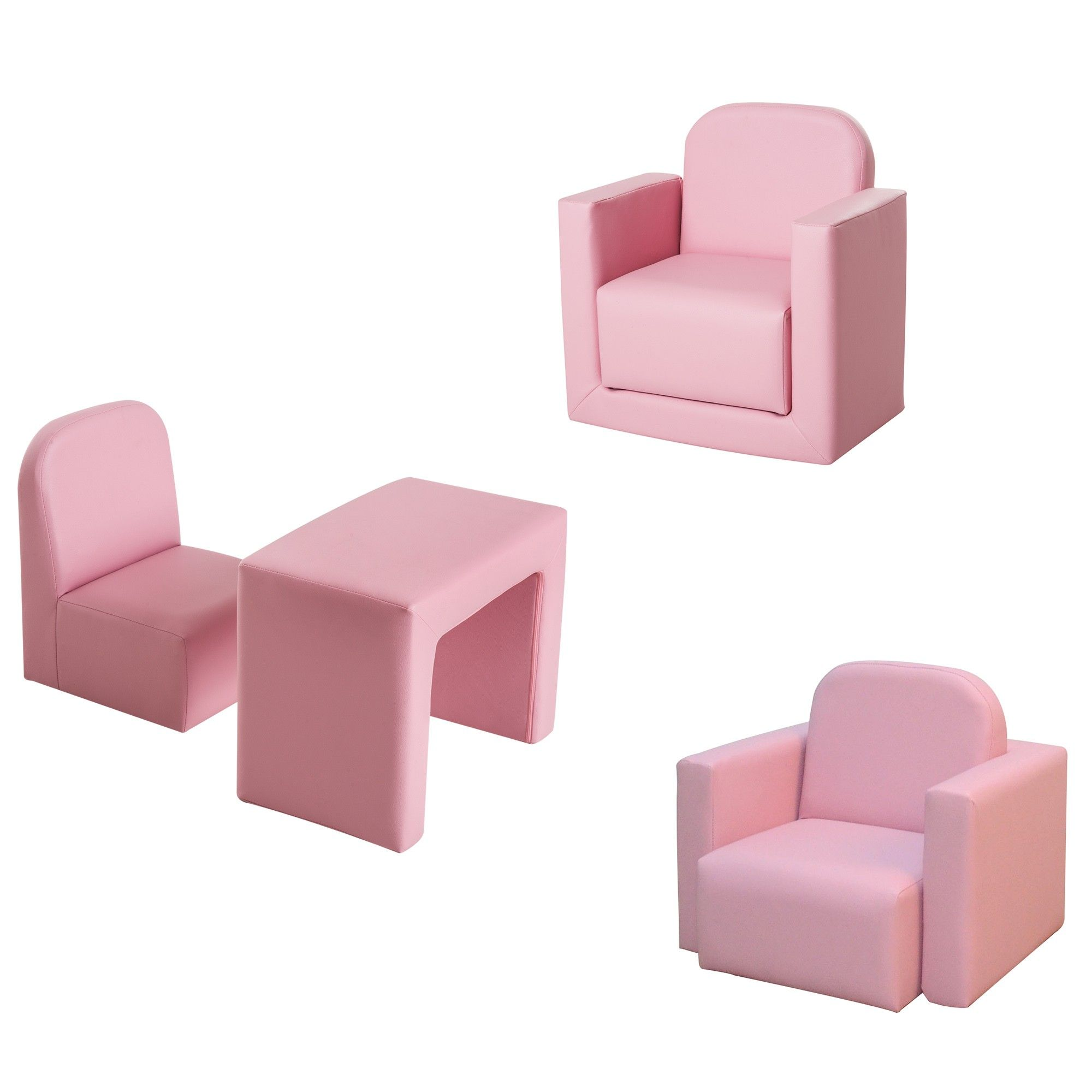 Homcom Kids 3 In 1 Table And Chair Set Mini Sofa Armchair Game Relax Playroom Seater Pink Aosom Uk Childrens Bedroom Furniture Mini Sofa Chair Set