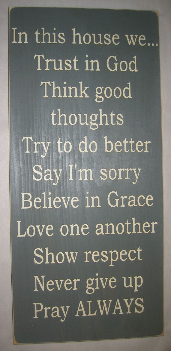 Wall Sign Decor Classy In This House We Trust In God Family Rules Typography Word Art Inspiration Design