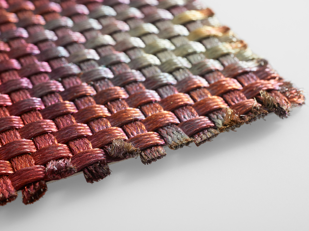 Copper Fabric Tela By De Castelli Weaving Metal Words Simple Curtains