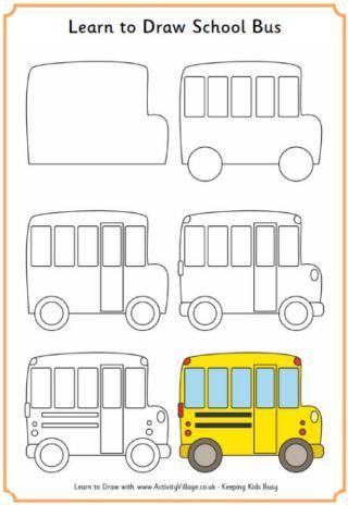 Apprendre à Dessiner Un Autobus Scolaire Drawings Easy