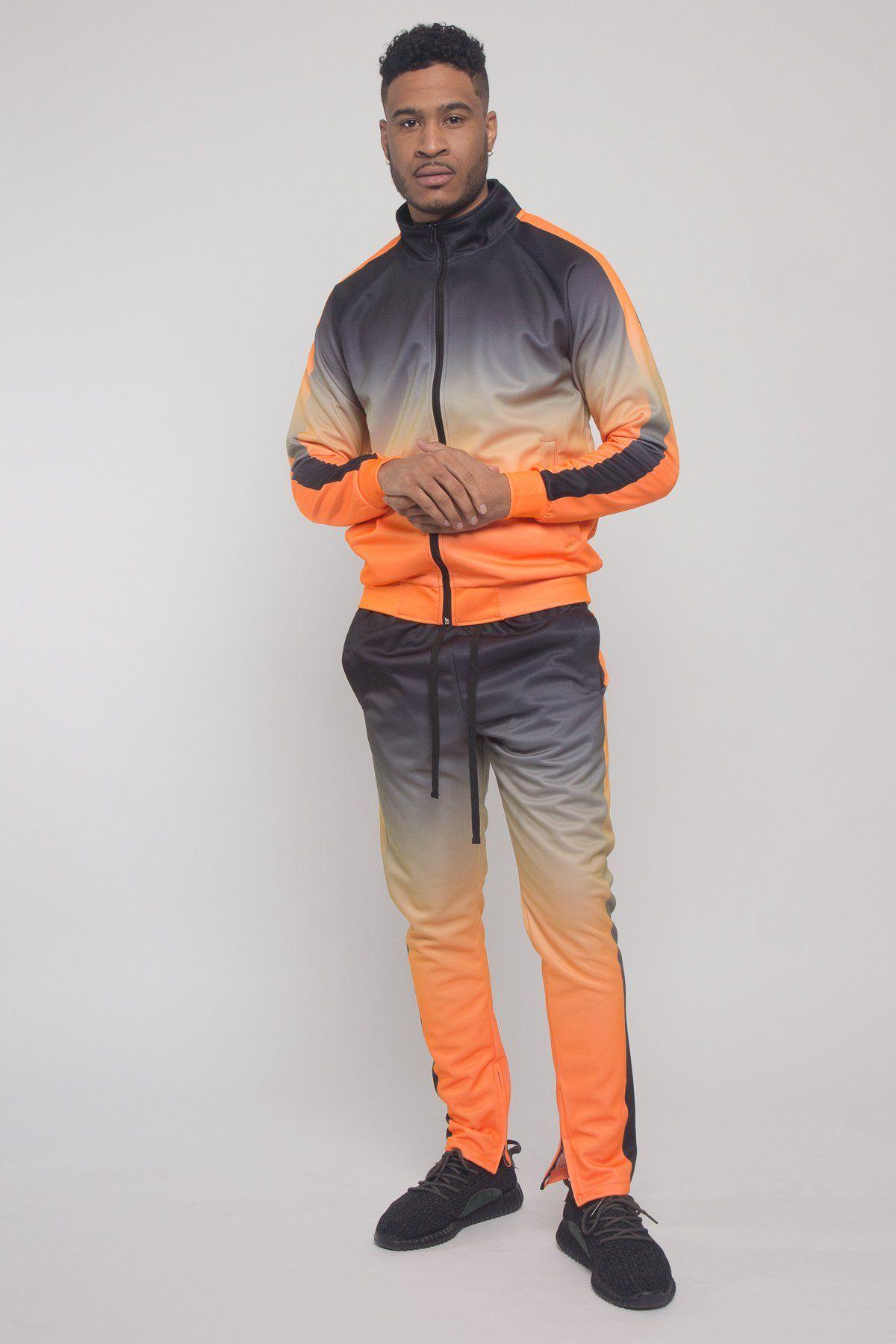 Ombre Gradient Colored Tracksuit - Neon Orange / X-Large