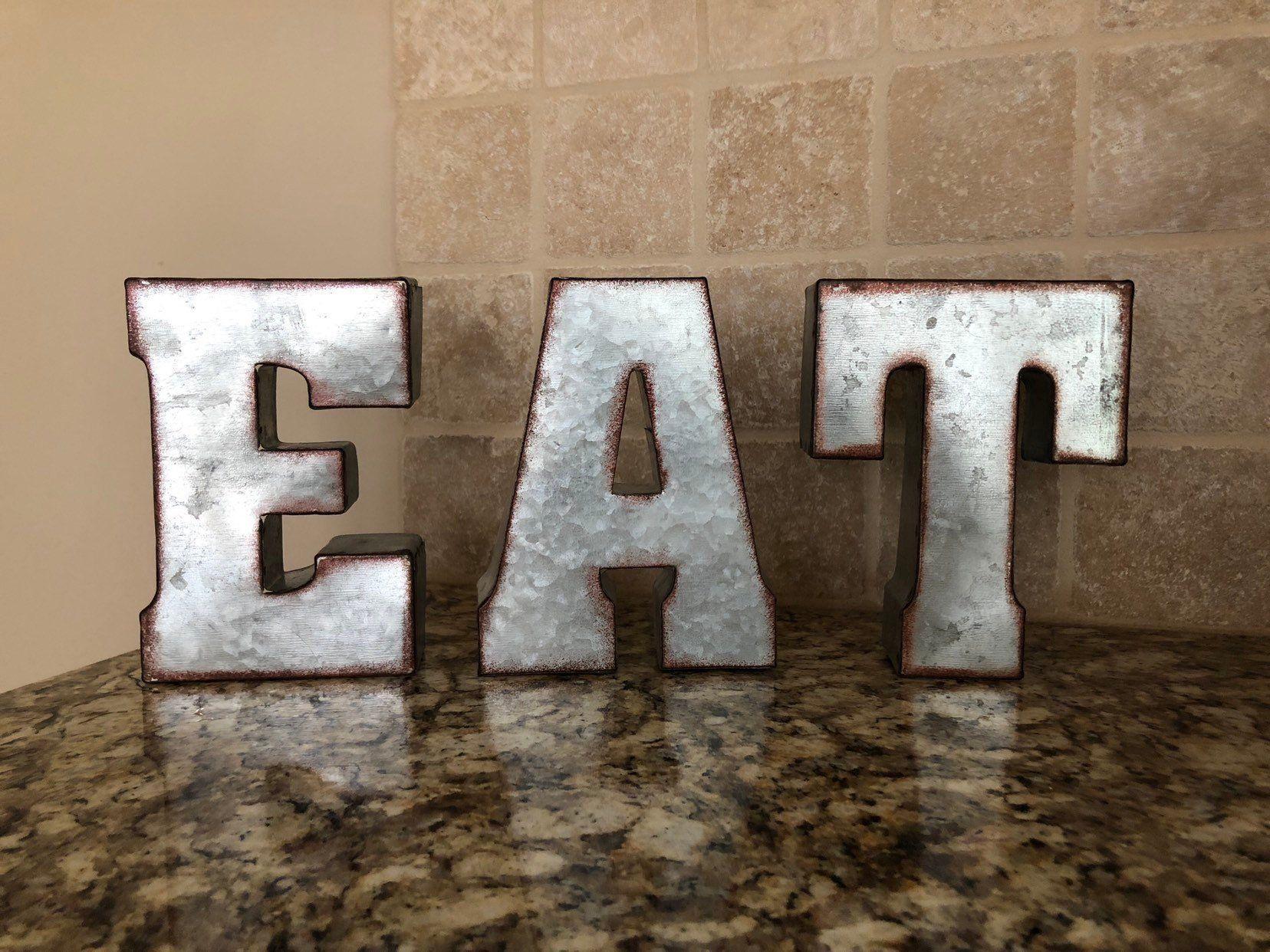 Eat Letters Eat Sign Kitchen Eat Sign Eat Metal Sign Metal Letters Farmhouse Letters Large Eat Letters Rustic Eat Sig Metal Letters Eat Sign Metal Signs
