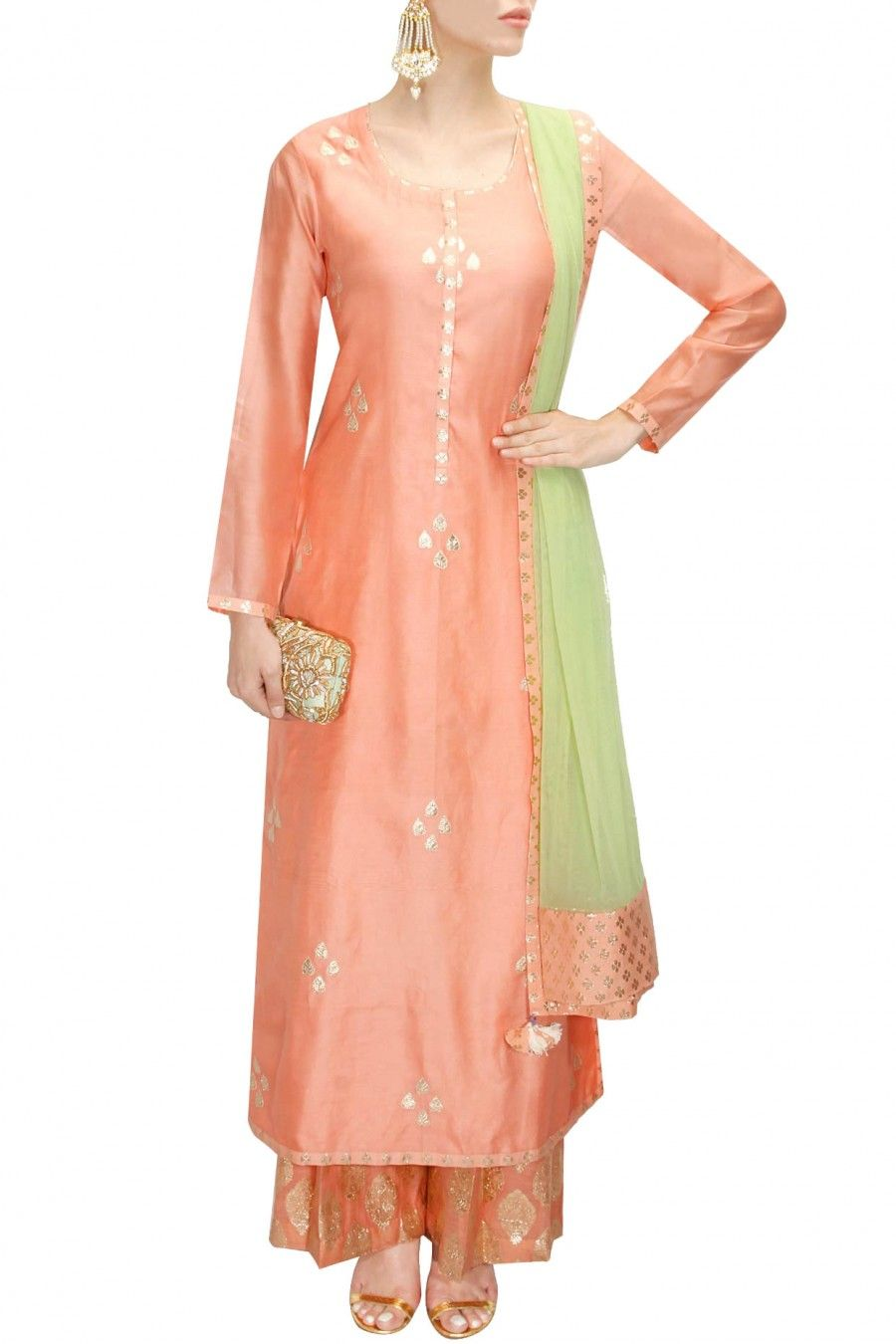 78a9b4a300c5d Featuring a peach chanderi kurta with scattered gota patti bootis. It comes  along with the peach chanderi palazzos pants with brocade motifs all over  and ...