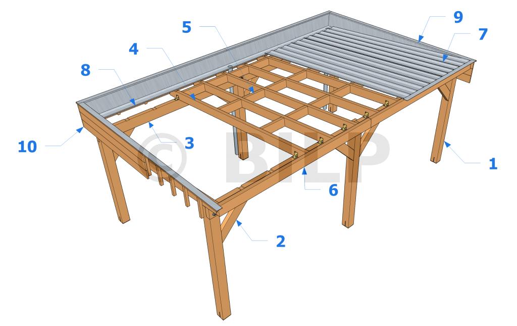 """Résultat de recherche d'images pour """"carport toit plat bac"""