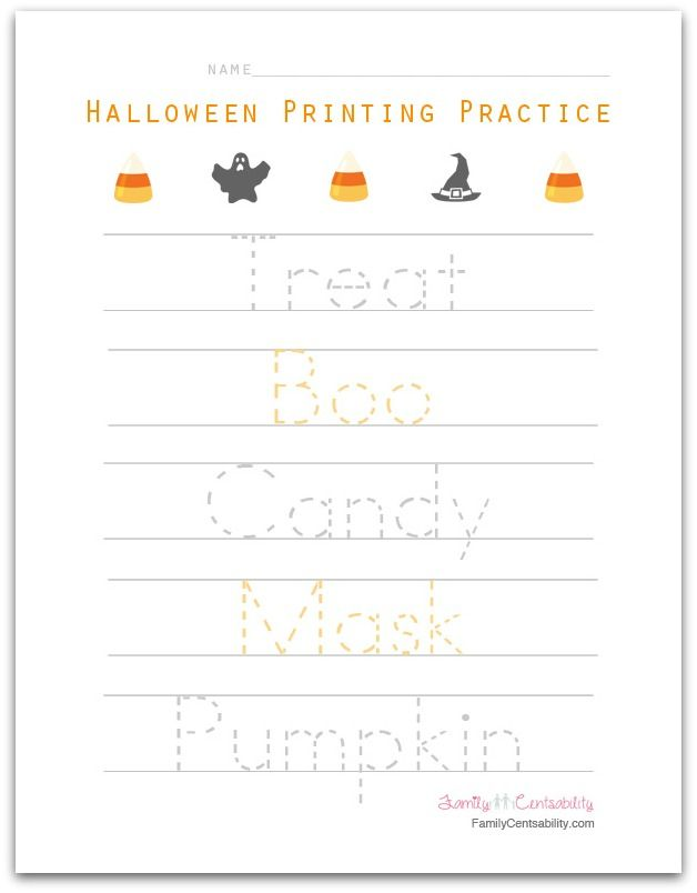halloween themed printing practice for preschoolers holidays printing practice writing. Black Bedroom Furniture Sets. Home Design Ideas