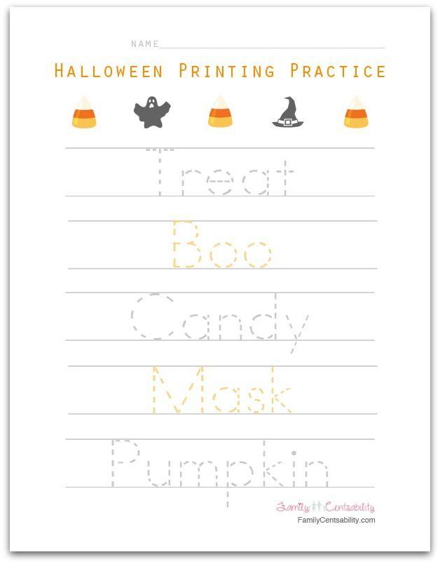 halloween themed printing practice for preschoolers - Free Preschool Halloween Printables