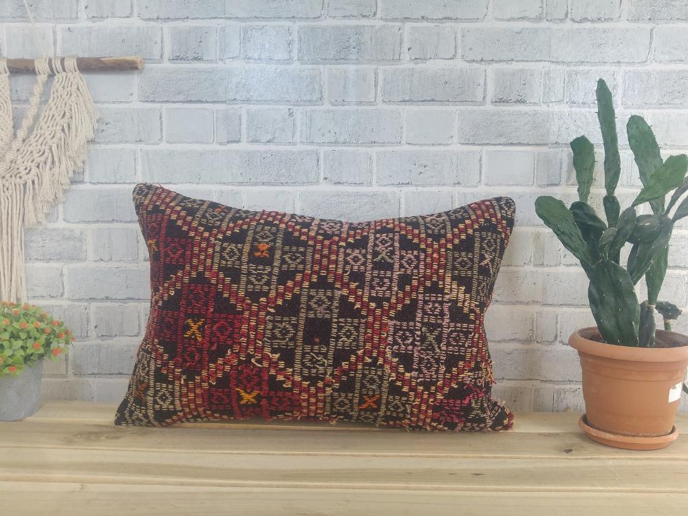 Anatolian kilim pillow , pillow cover , casual pillow , comfort pillow , 16 x 24 pillow , handmade pillow , decorative sofa pillow, 1425