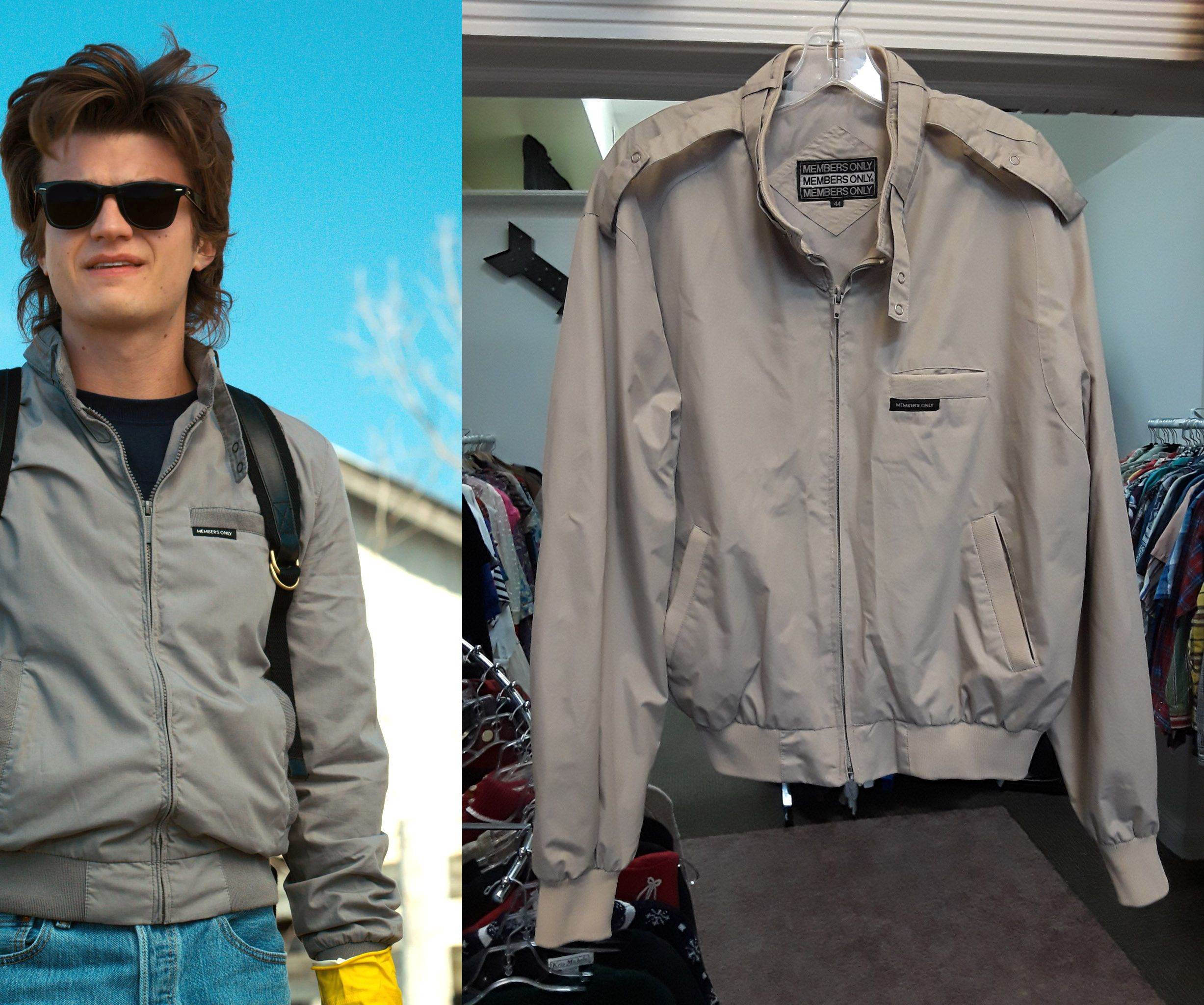 sick members only jacket. similar to the one seen in Stranger Things season  2