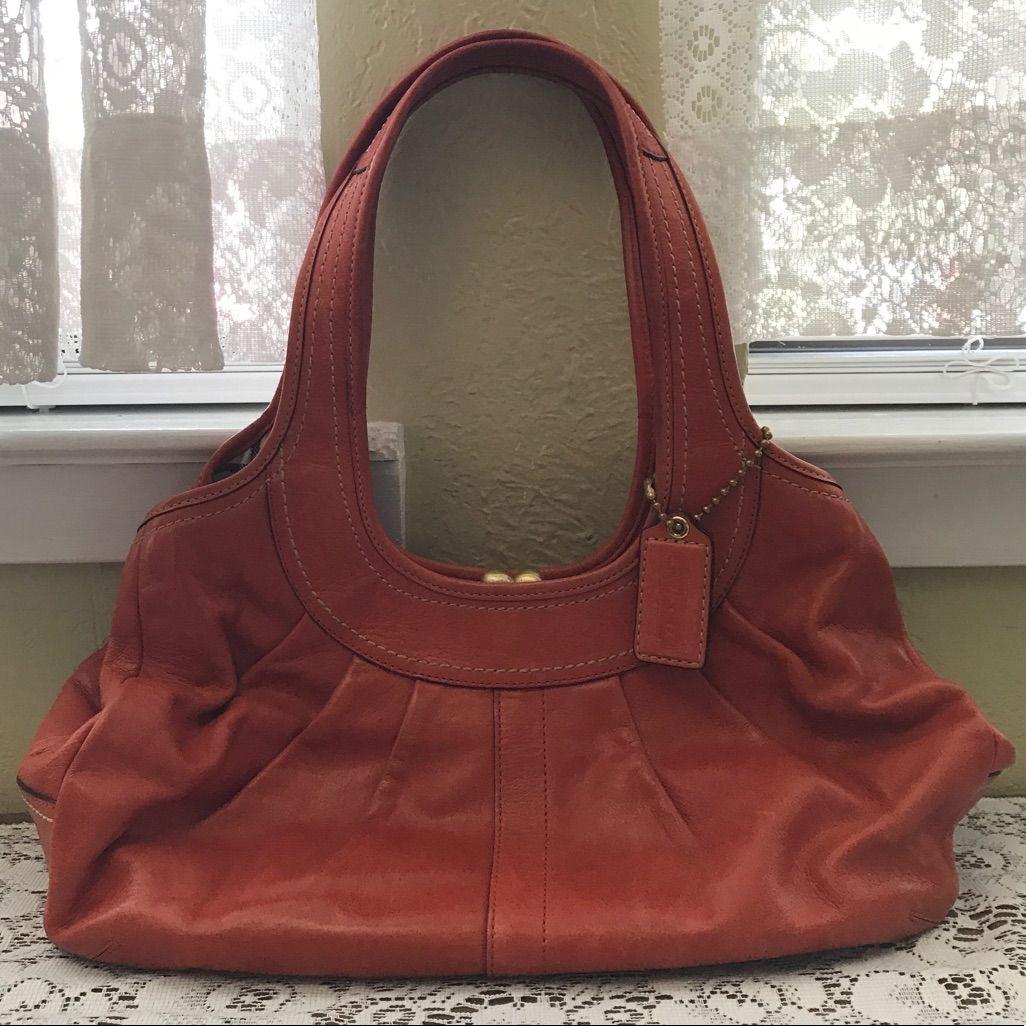 Coach Burnt Orange Kiss-Lock Pleated Leather Purse