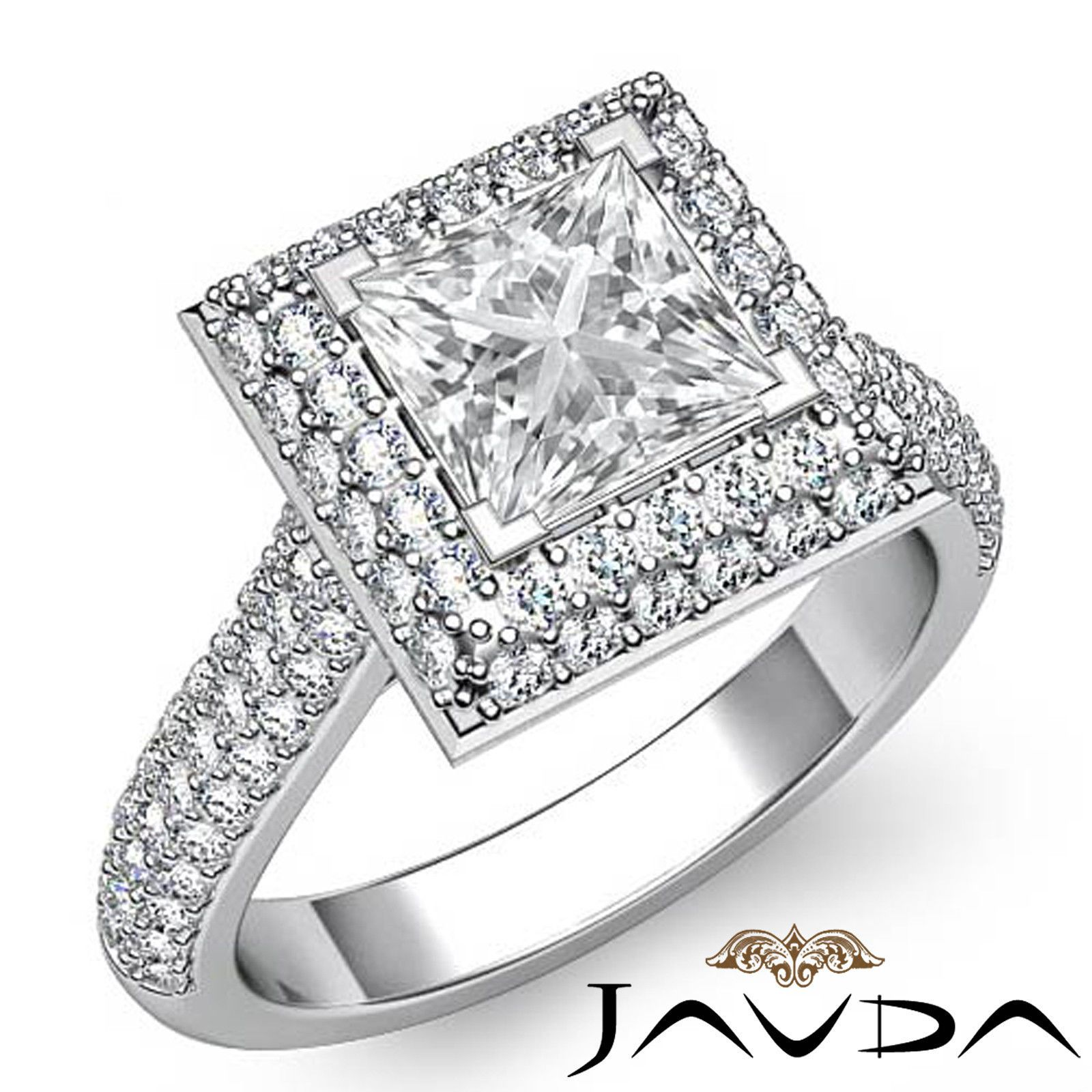 Princess Diamond Vintage Engagement Pave Ring GIA F SI1 14k White