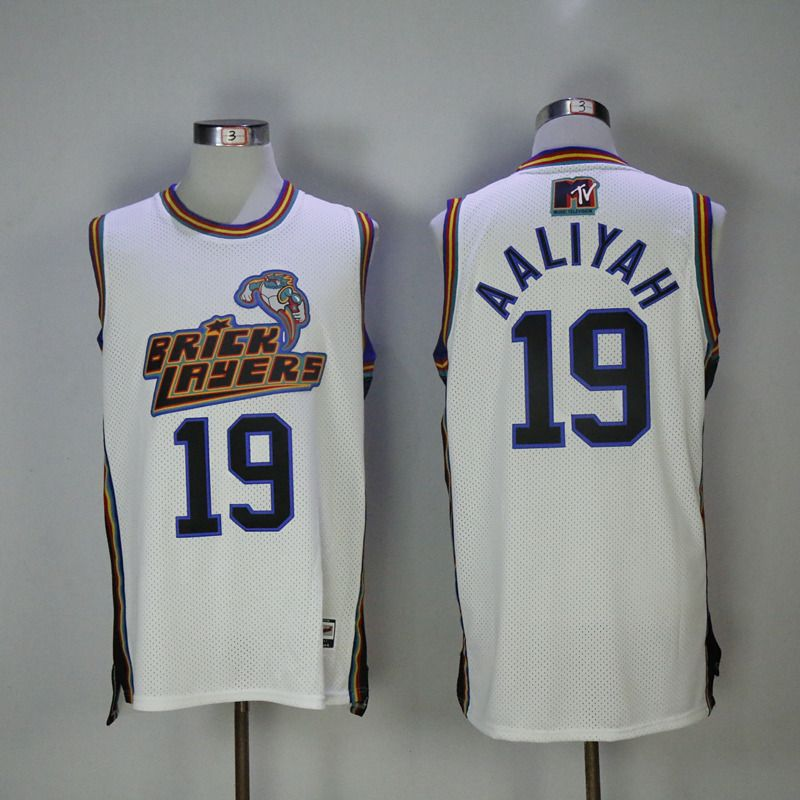 f6709fc24042 Stitched 19 Aaliyah Bricklayers Basketball Jersey 1996 MTV Rock N Jock  Jerseys 2017 New White