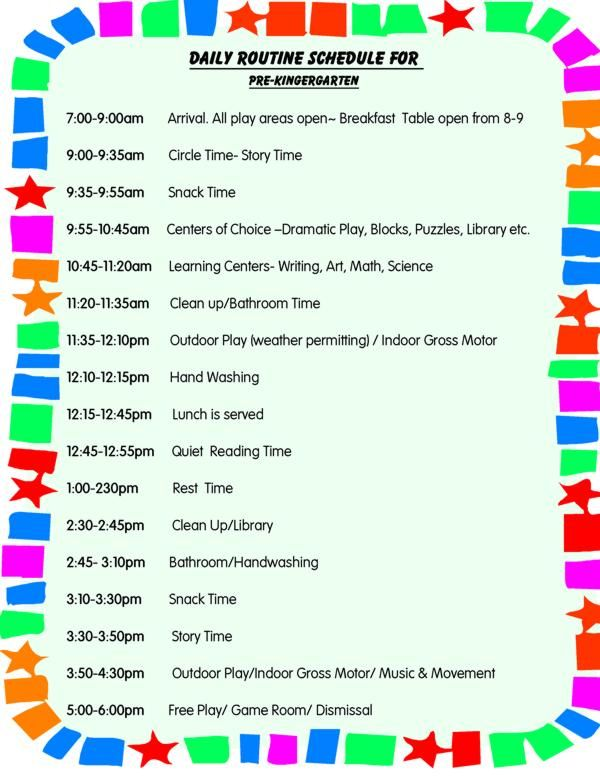 Daily schedule for toddlers daily schedule for preschool for Preschool classroom schedule template