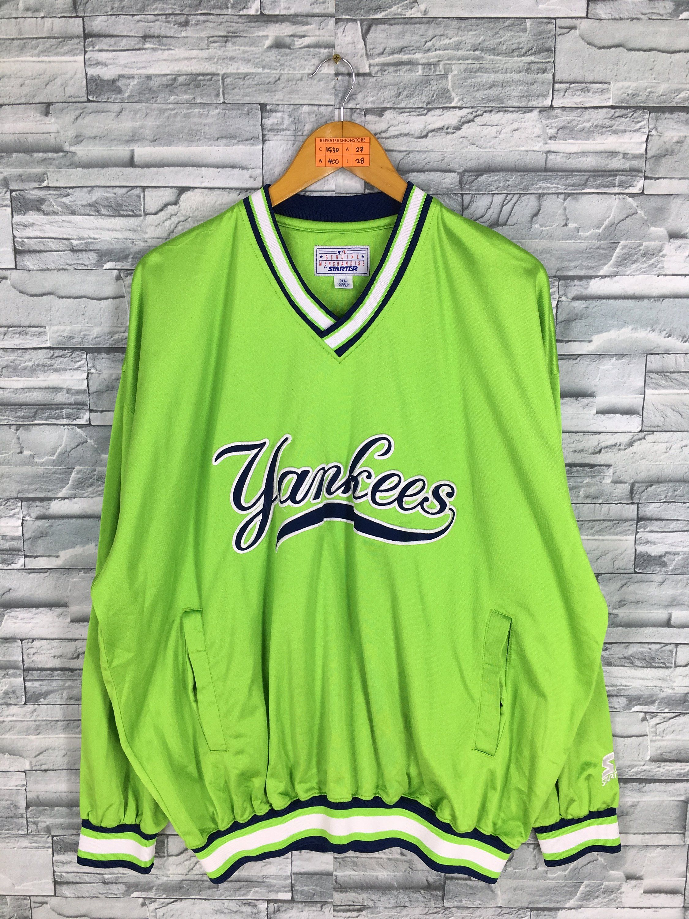 a07c5e720 NY YANKEES Pullover Jacket Xlarge Mens Vintage Baseball Team Mlb Starter  New York Yankees Baseball Polyester Sweatshirt Green Neon Size XL by ...