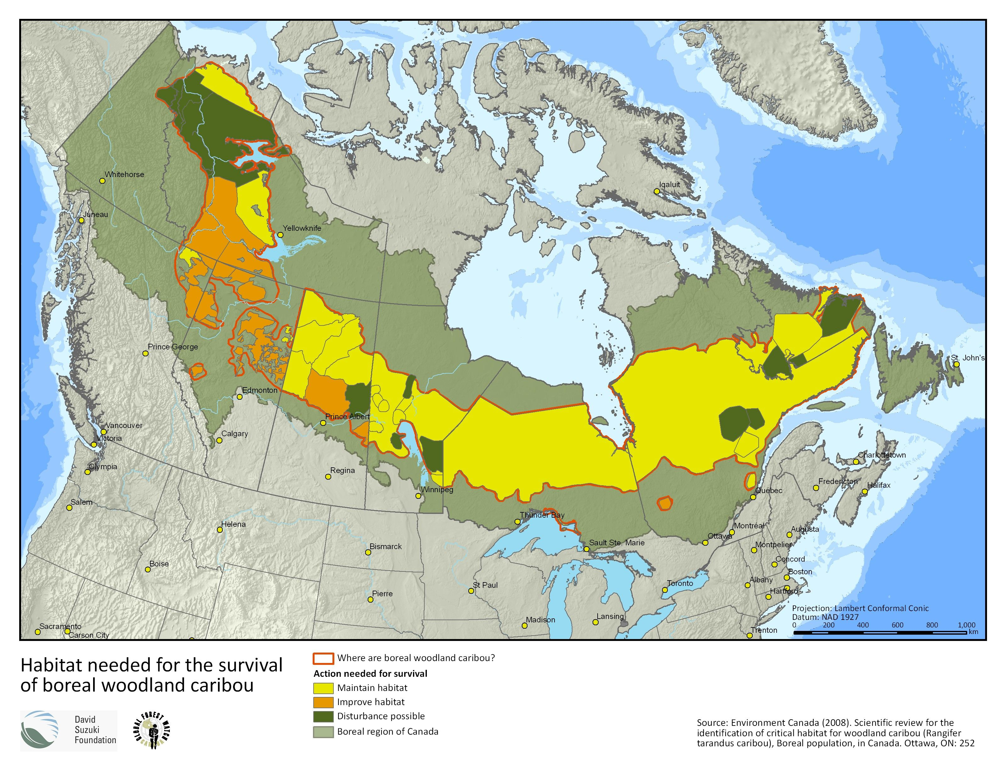 Map Habitat needed for the survival of boreal woodland caribou