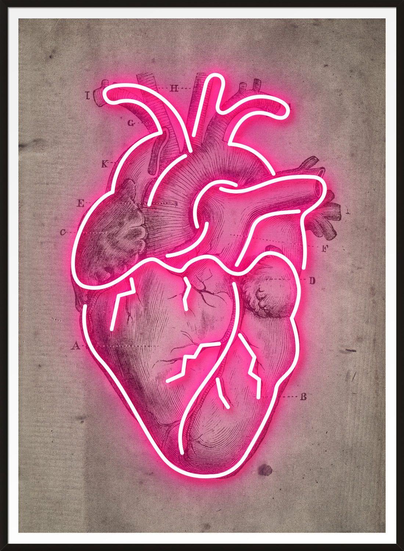 Photo of Neon Heart Vintage Diagram Print