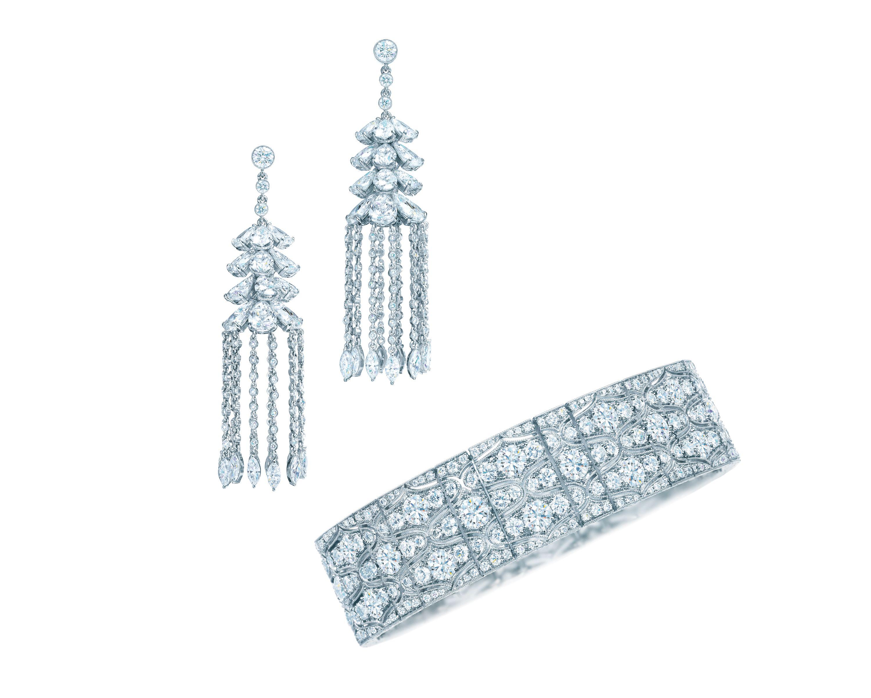 Tiffany diamond drop earrings and a diamond bracelet in platinum