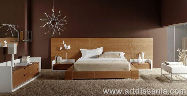 Dormitorio matrimonial en madera color blanco y marr n for Habitaciones modernas en blanco