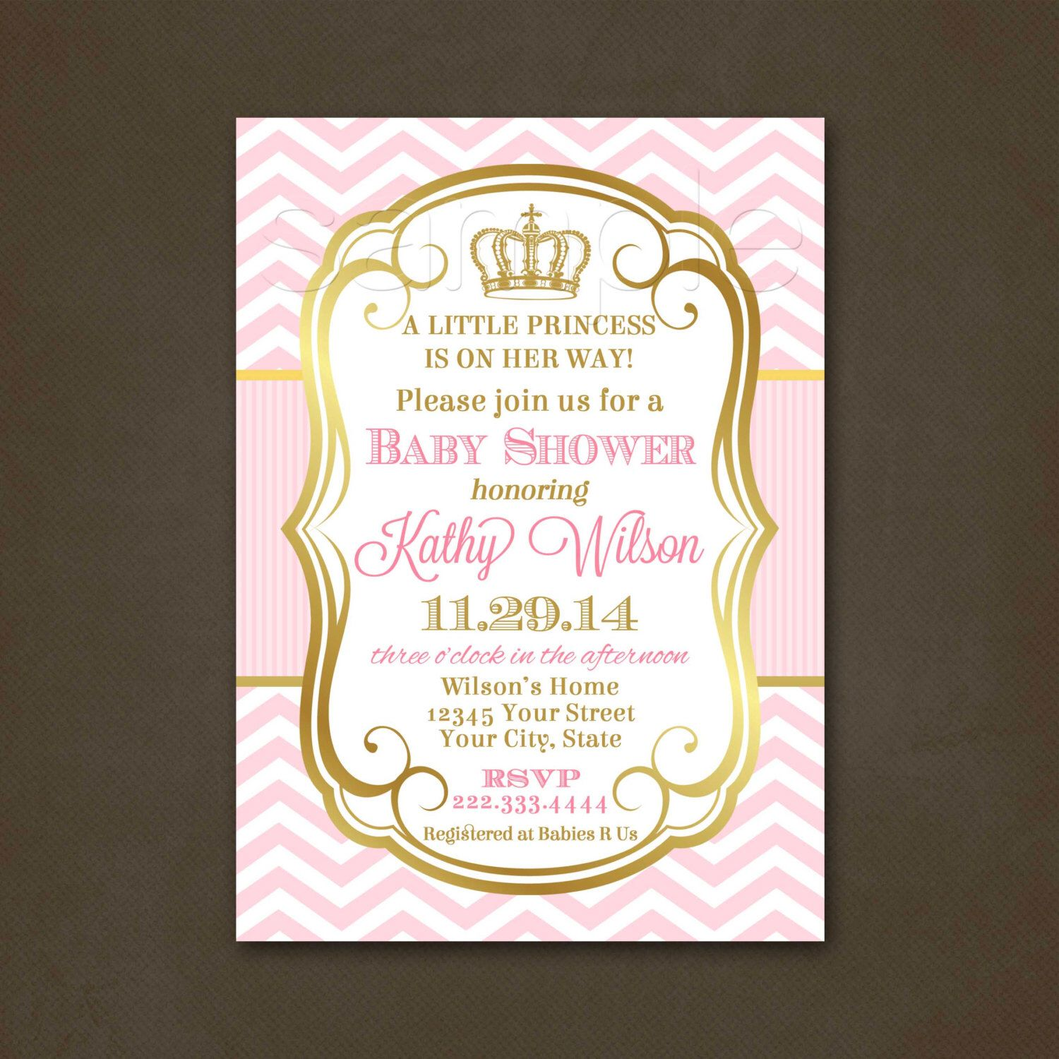 Princess Baby Shower Invitation, Baby Shower Invitation For A Girl, Pink  Chevron, Pink And Gold, Elegant, Crown Invitation, Printable File
