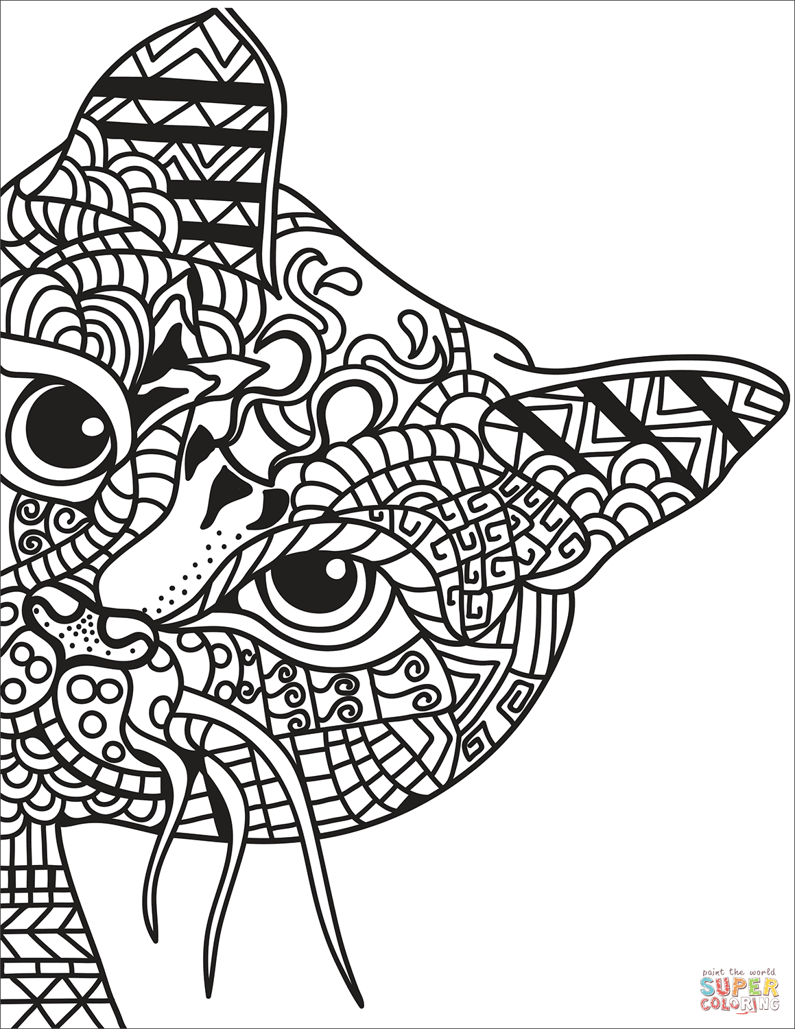 Zentangle Cat Coloring Page Free Printable Coloring Pages Cat Coloring Page Dog Coloring Page Cat Coloring Book [ 1500 x 1159 Pixel ]