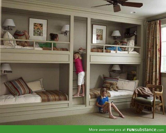 So Much More Room For Activities Bunk Beds Built In Built In Bunks Bedding Inspiration