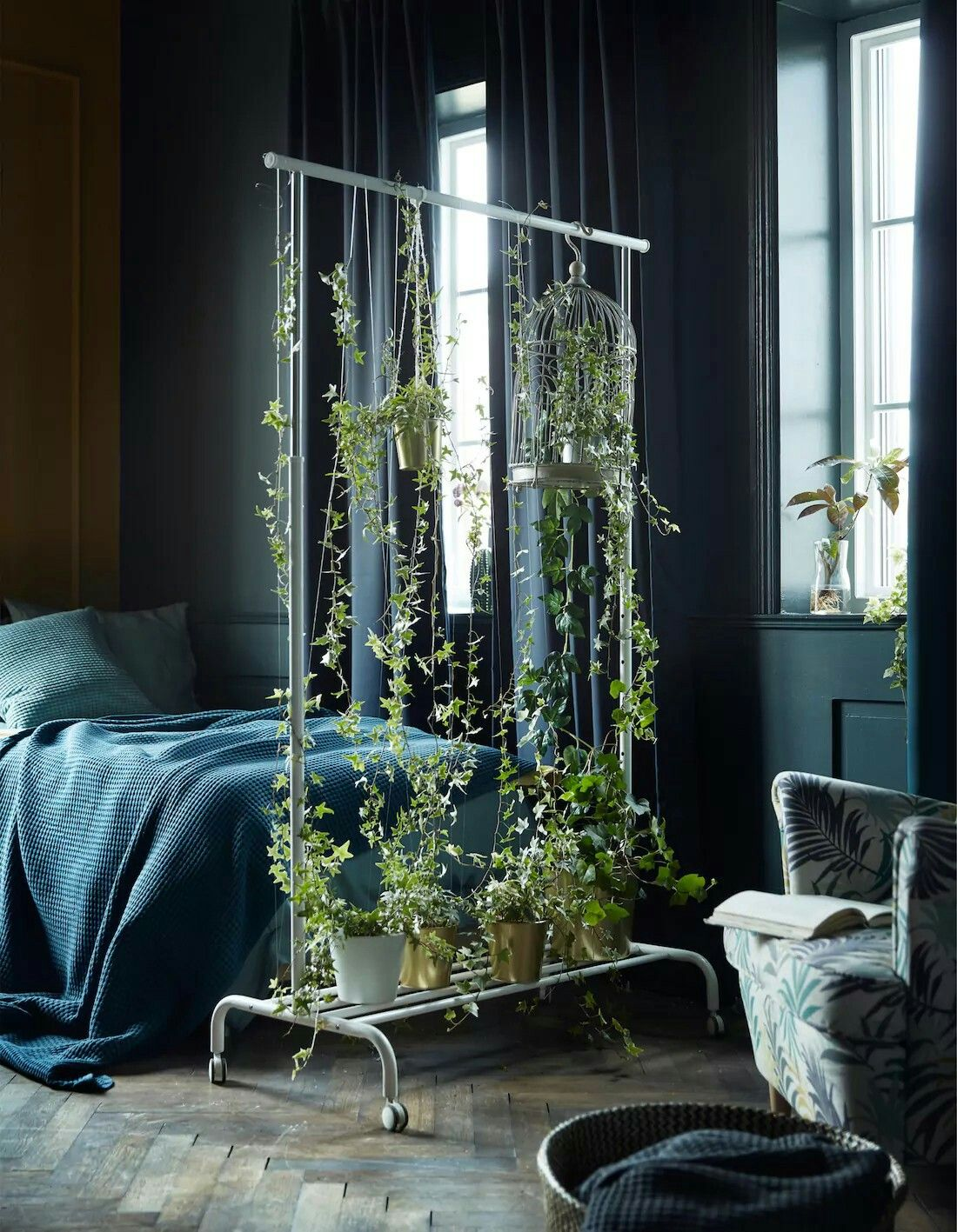 Ikea hack clothing rack into a plant room divider green life