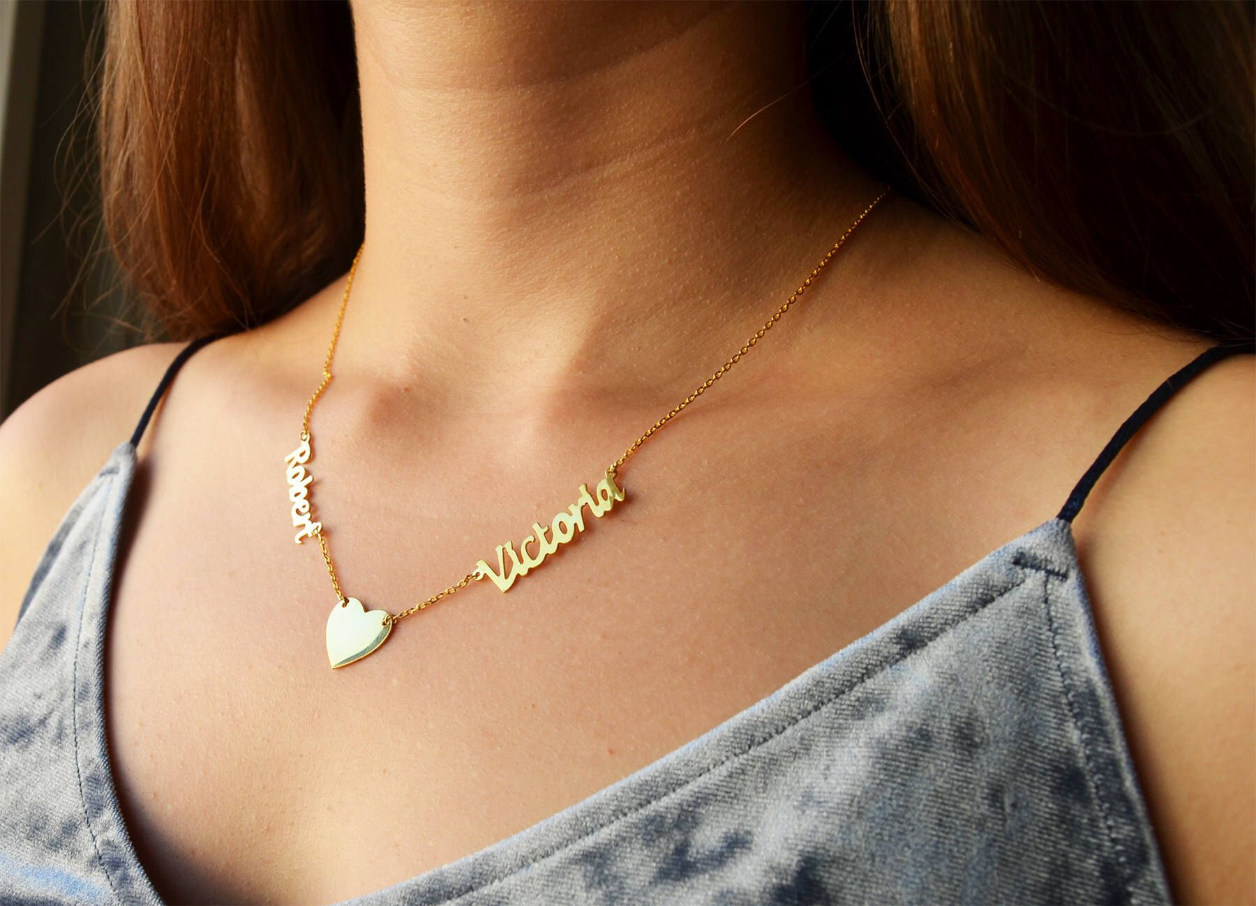 Name Necklace Personalized 2 Name Necklace Hearth Name Etsy Diamond Cross Pendants Diamond Cross Necklaces Gold Cross Necklace