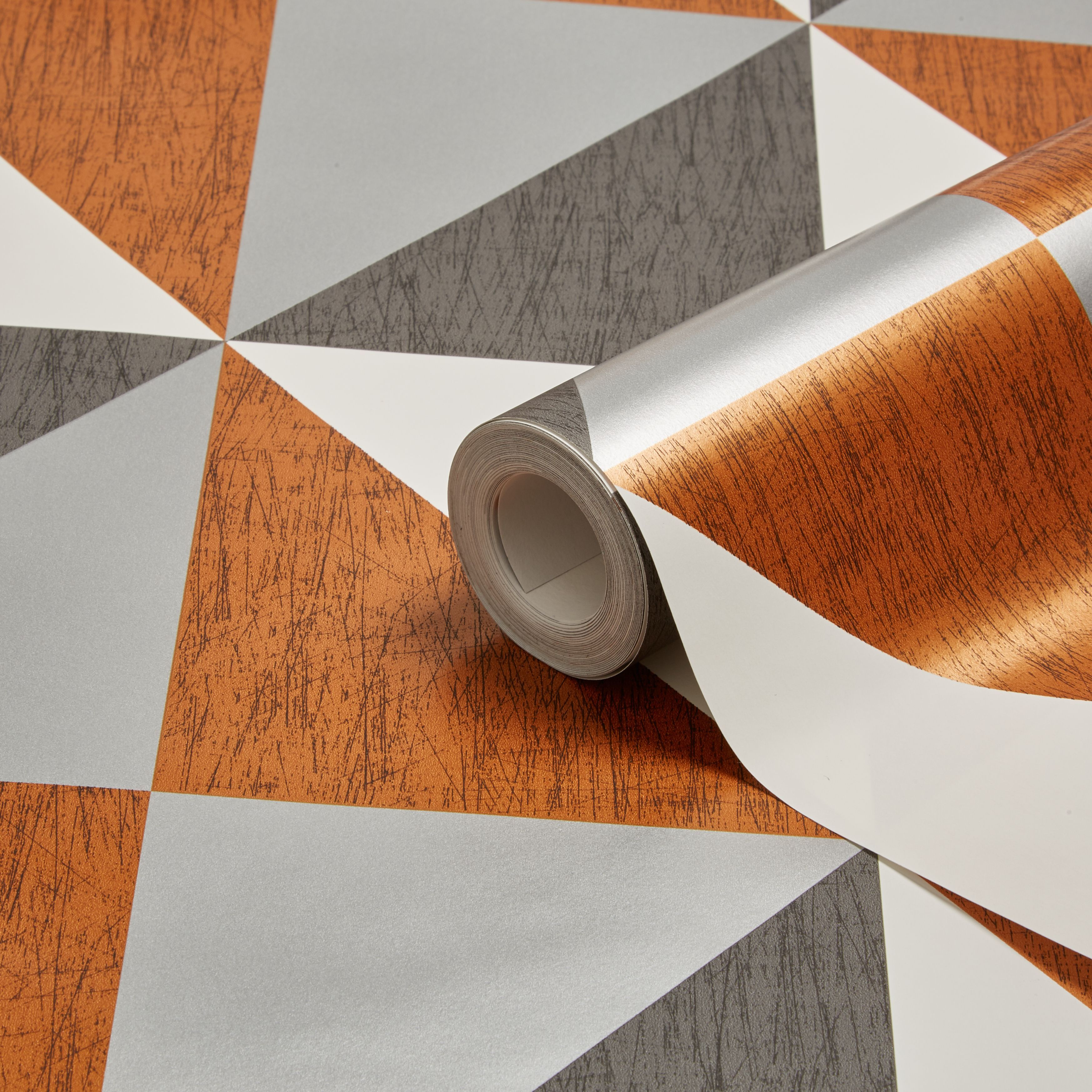 Colours Mosaic Copper Navy Pewter Geometric Metallic Wallpaper Departments Diy At Bq