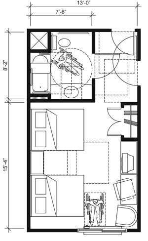 This drawing shows an accessible 13-foot wide guest room ...