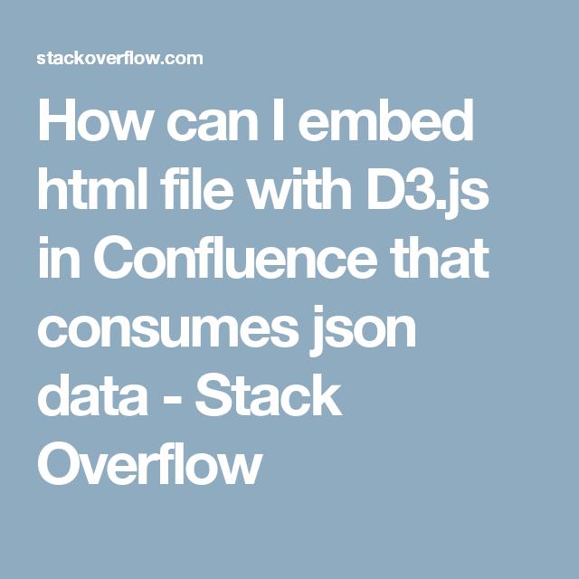 How can I embed html file with D3 js in Confluence that