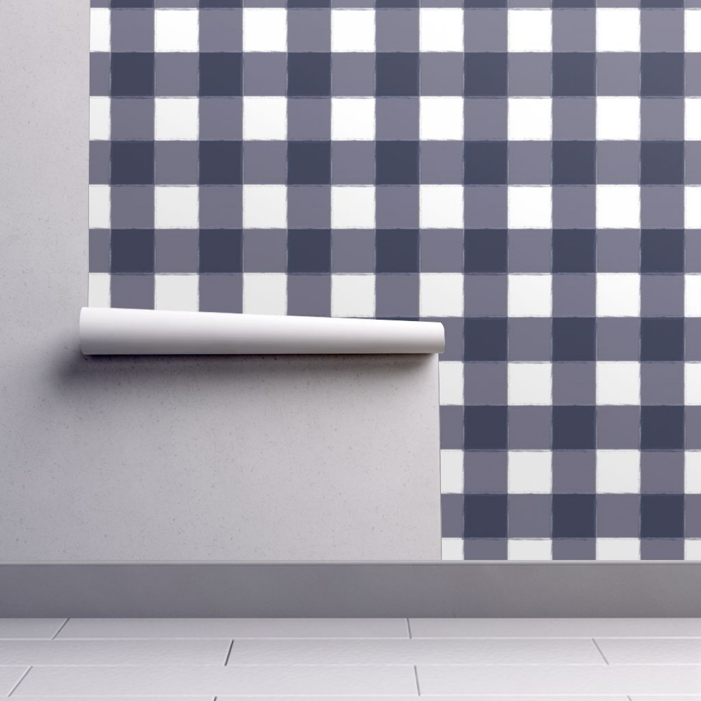 Wallpaper Large Navy Buffalo Check Gingham in 2020 Self