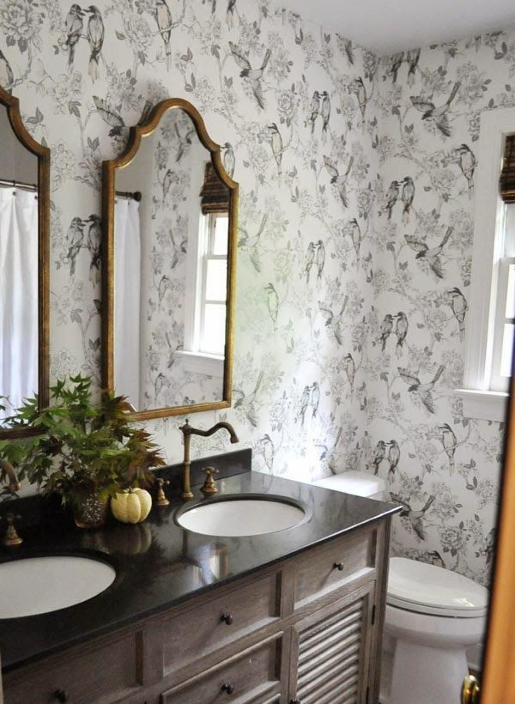 40 Stylish Bathroom Wallpaper Ideas Inspirations | Bird bathroom ...