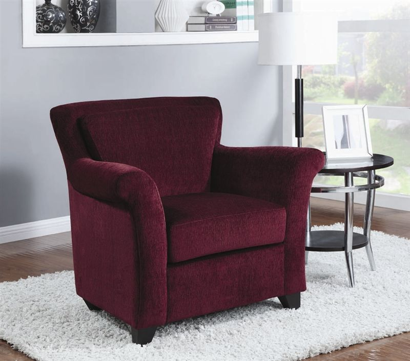 Best Burgundy Chenille Accent Chair By Coaster 900304 400 x 300