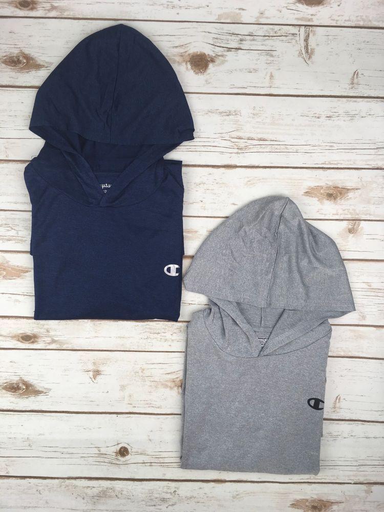f026f005778a Mens Champion Shirt Long Sleeve Hooded Performance Blue Grey Heather ...