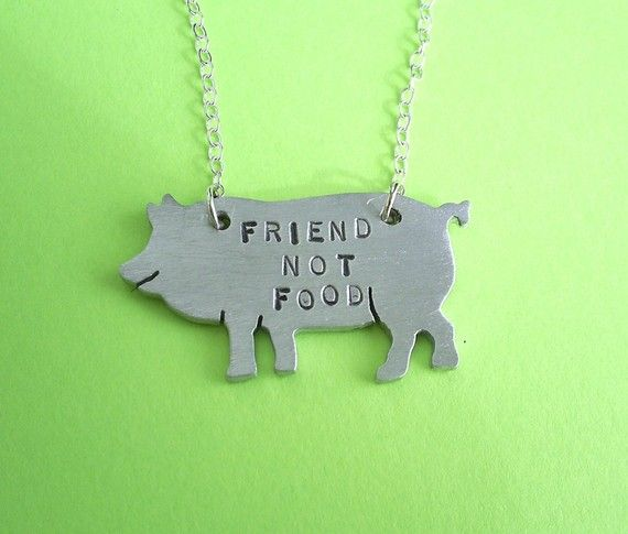 Hey i found this really awesome etsy listing at httpetsy this cute little pig is your friend not whats for dinner friend not food pig eco friendly necklace is handstamped friend not food is made out of mozeypictures Gallery